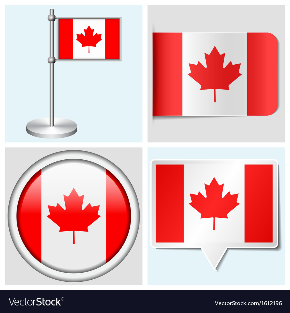Canada flag - sticker button label flagstaff vector | Price: 1 Credit (USD $1)
