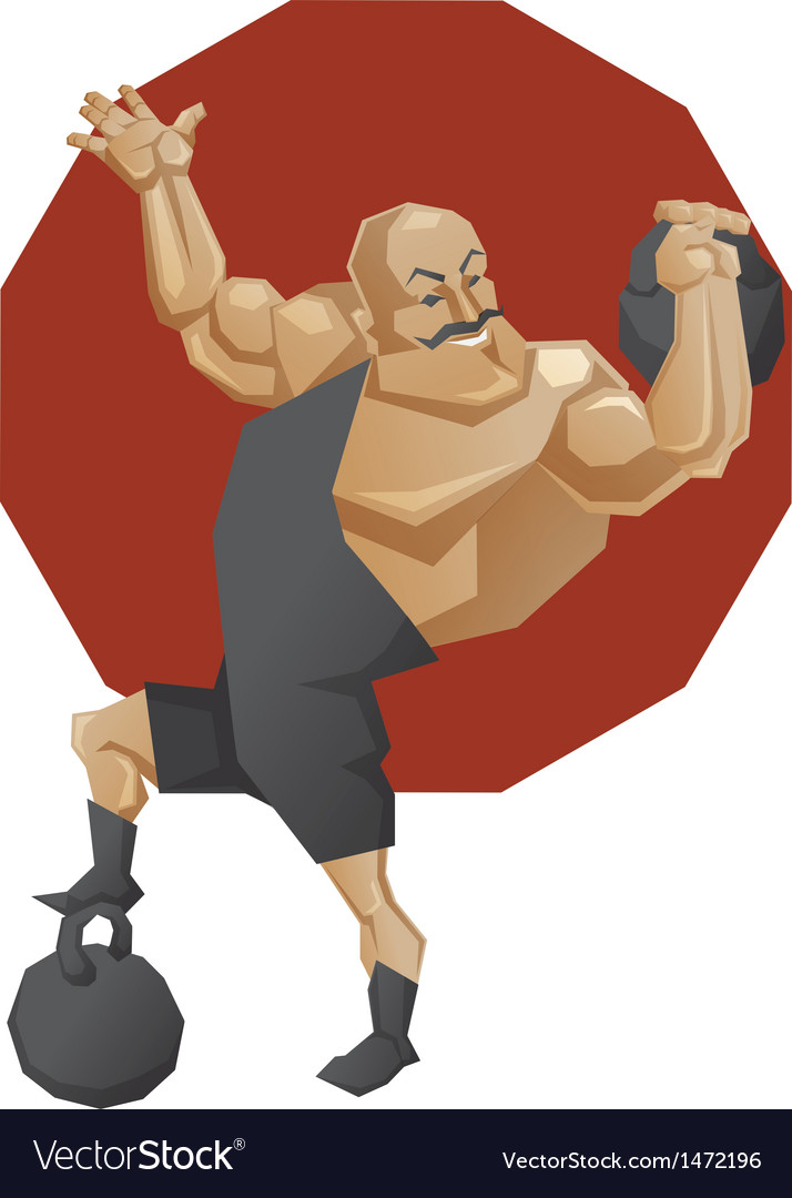 Circus strong man lift a weight vector | Price: 3 Credit (USD $3)