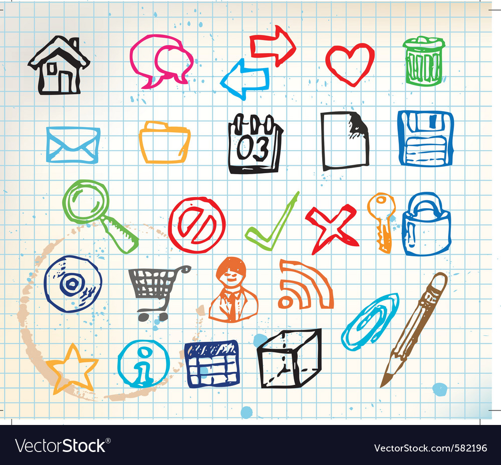 Doodle web icons vector | Price: 1 Credit (USD $1)