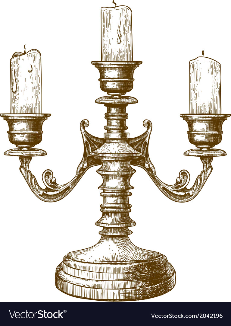 Engraving candlestick vector | Price: 1 Credit (USD $1)