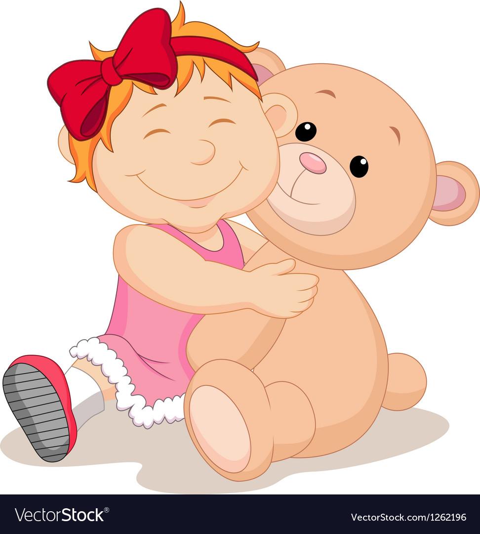 Girl with teddy bear cartoon vector | Price: 3 Credit (USD $3)