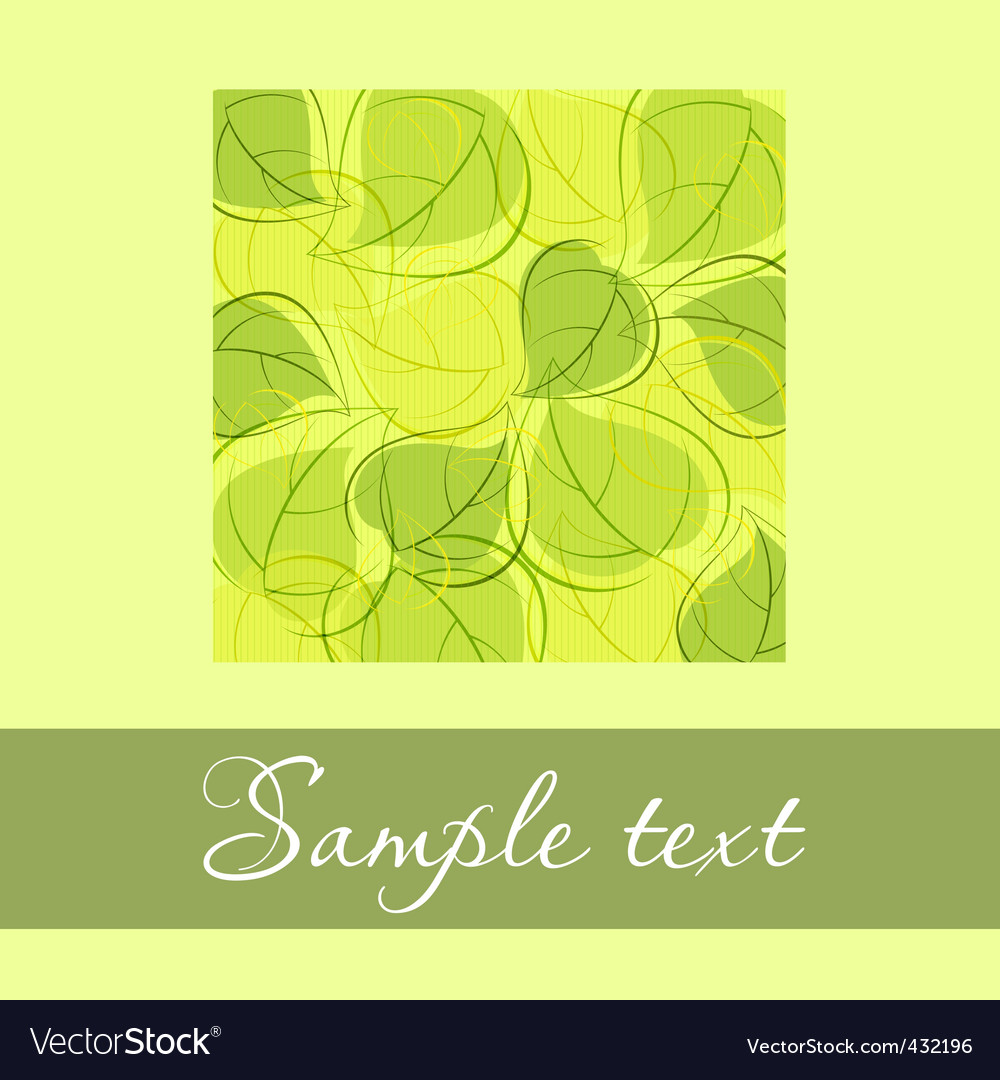 Green card with green leaves vector | Price: 1 Credit (USD $1)