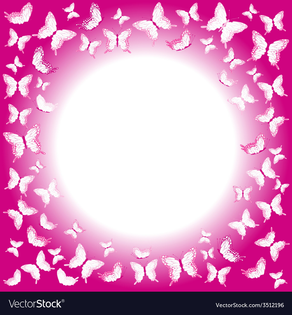 Pink butterflies border with place for your text vector | Price: 1 Credit (USD $1)