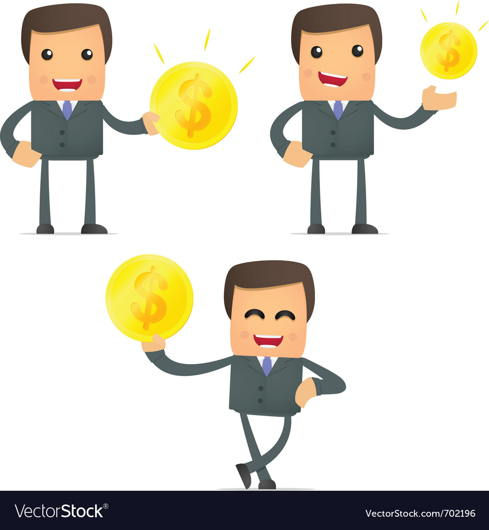 Set of funny cartoon businessman vector | Price: 3 Credit (USD $3)