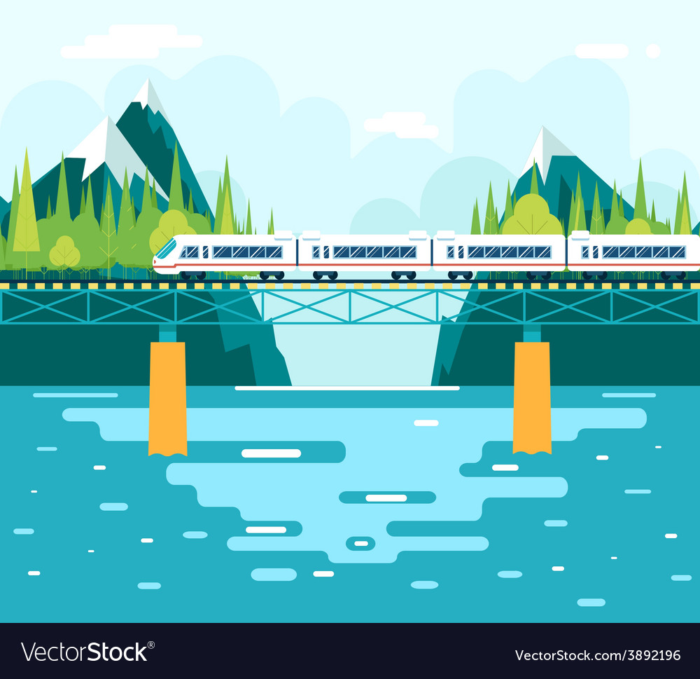 Wagons on bridge over river tourism and journey vector | Price: 1 Credit (USD $1)