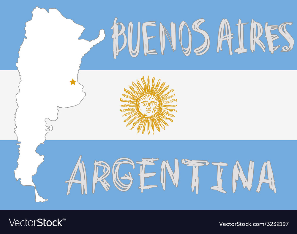 Argentina border shape flag on background and hand vector | Price: 1 Credit (USD $1)