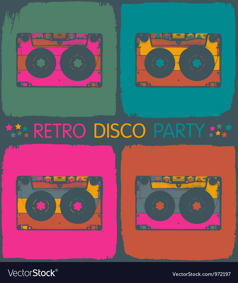 Audio cassette popart background vector | Price: 1 Credit (USD $1)