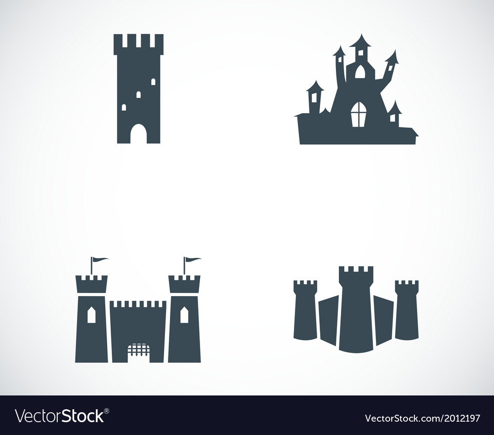 Black castle icons set vector | Price: 1 Credit (USD $1)
