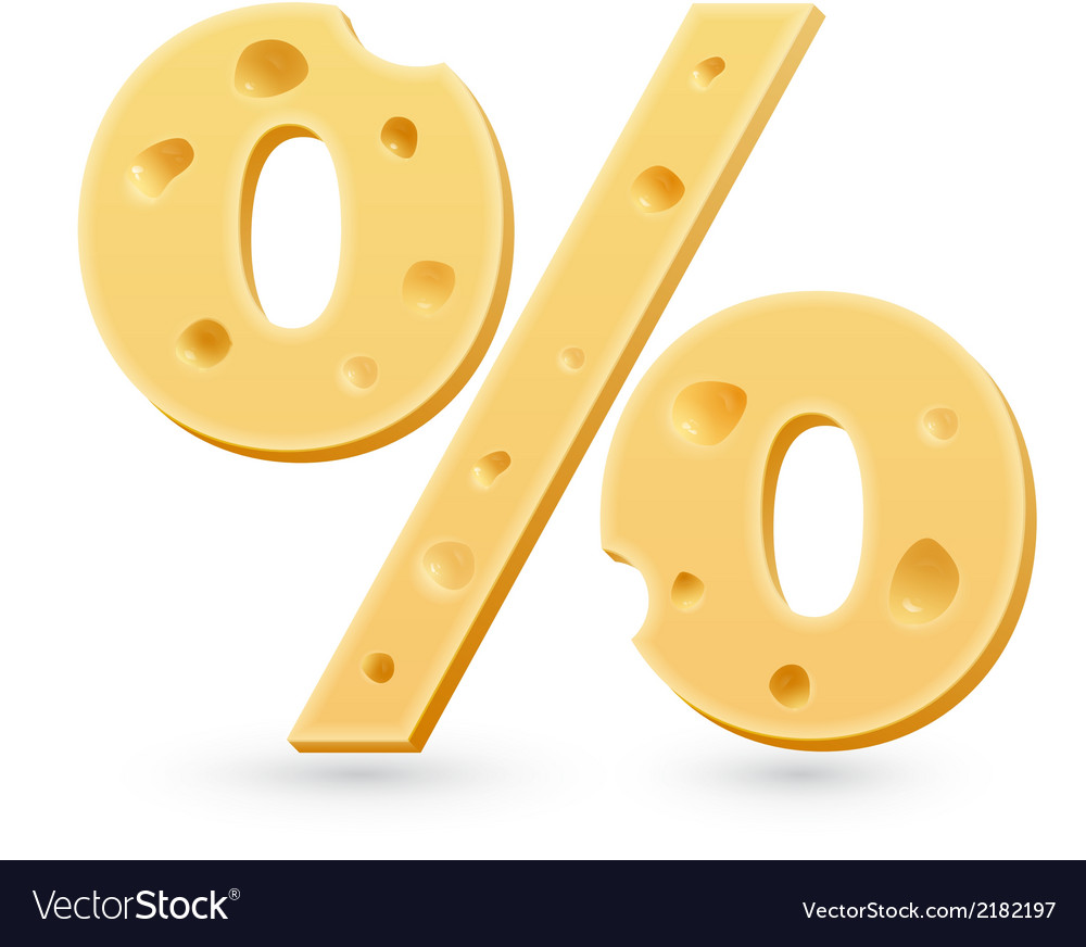 Cheese percent mark symbol isolated on white vector | Price: 1 Credit (USD $1)