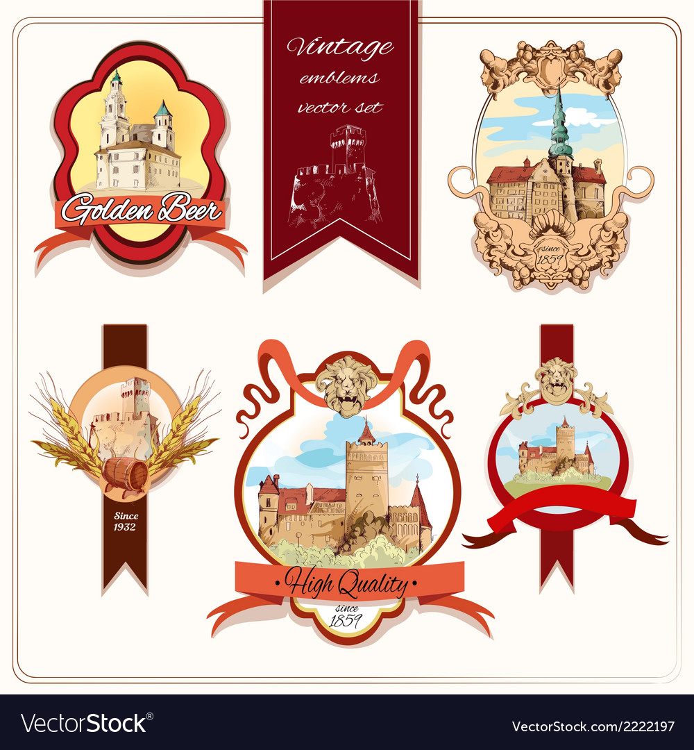 City emblems colored vector | Price: 1 Credit (USD $1)