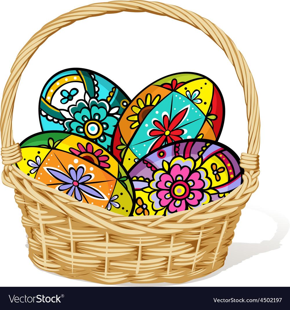 Easter egg in basket - vector | Price: 1 Credit (USD $1)