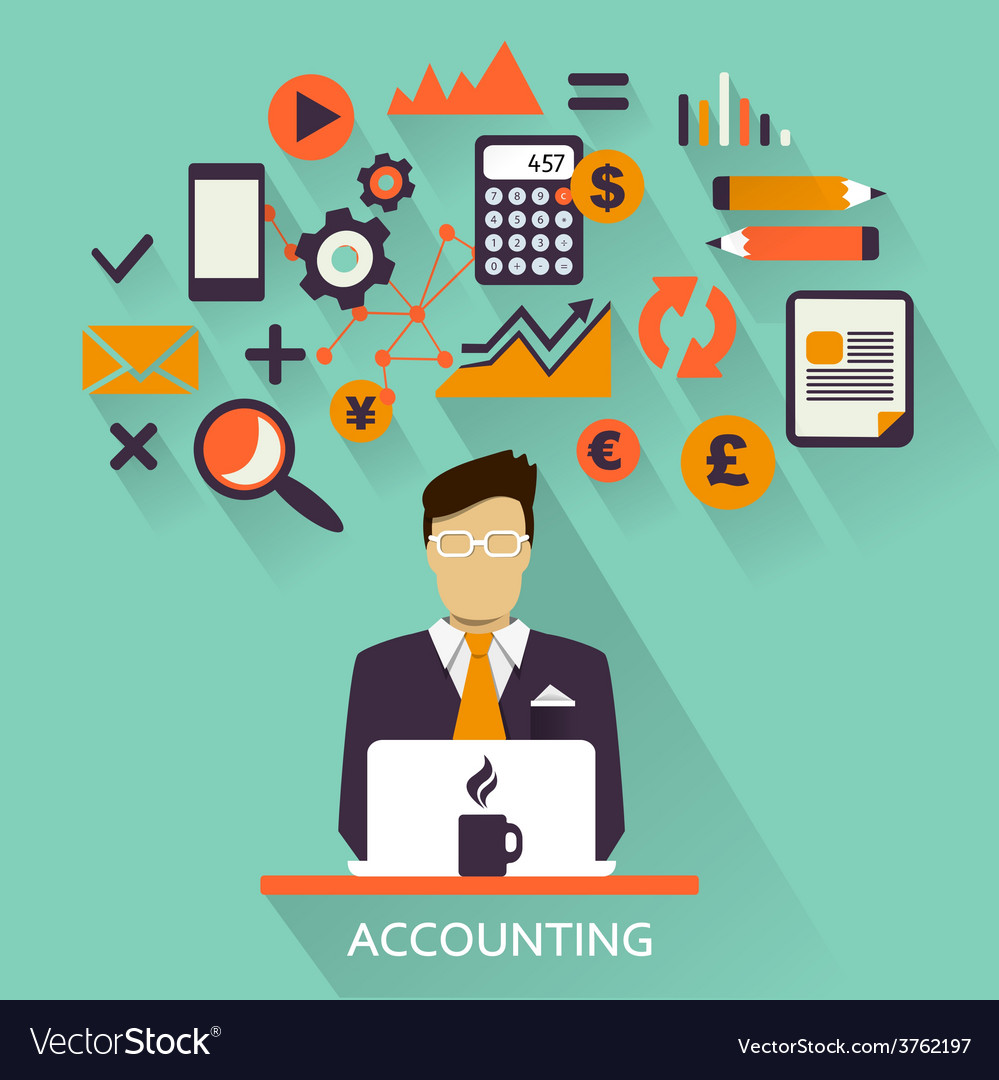 Flat design freelance career accounting vector | Price: 1 Credit (USD $1)