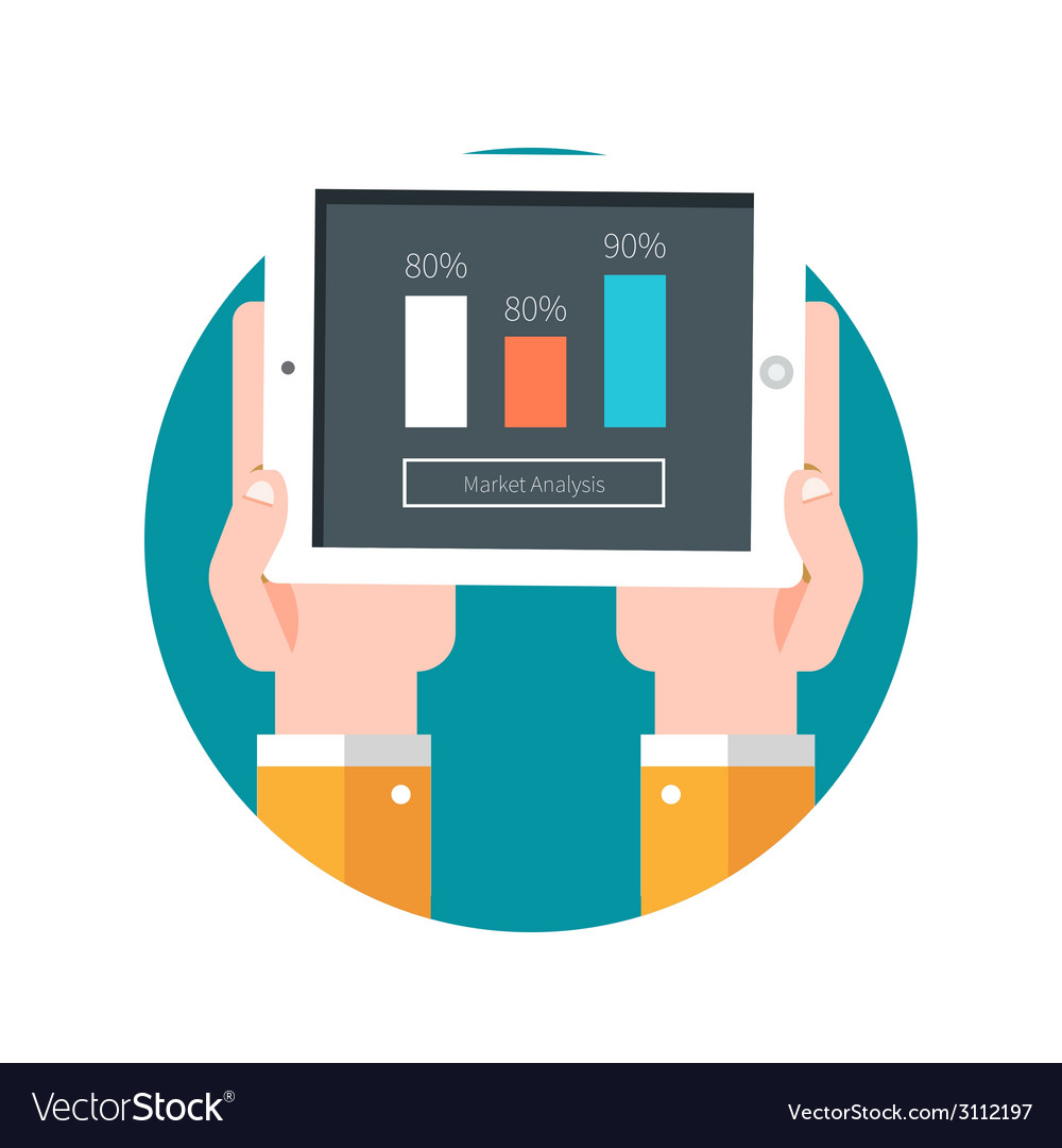 Hands hold tablet pc with graphs vector | Price: 1 Credit (USD $1)