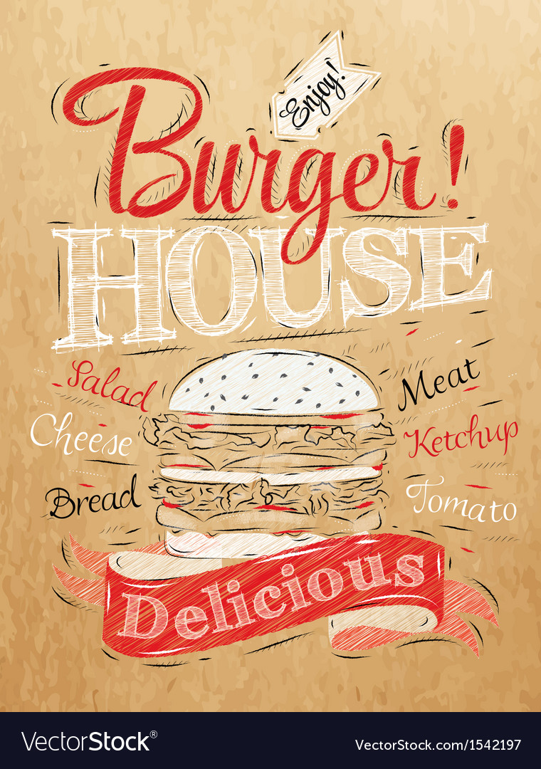 Poster burger hous kraft vector | Price: 1 Credit (USD $1)