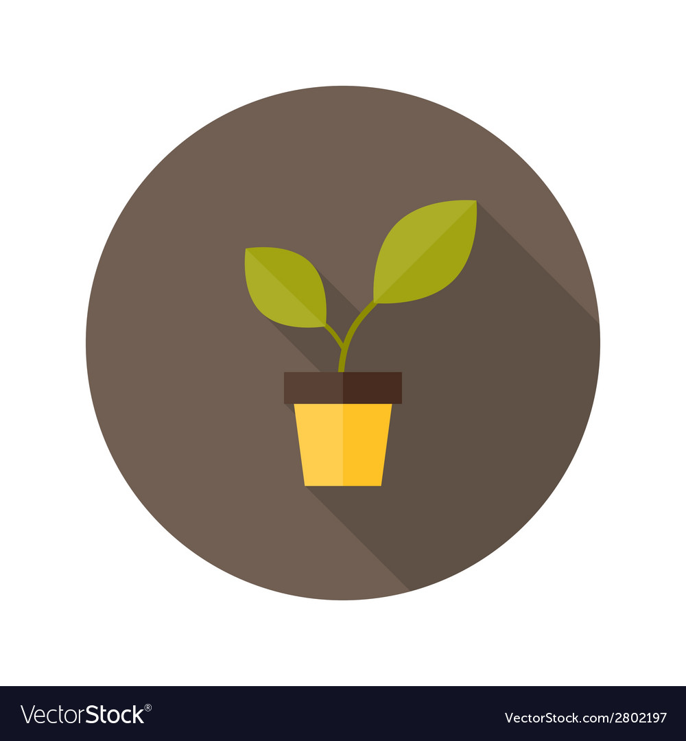 Pot with green plant flat icon vector | Price: 1 Credit (USD $1)