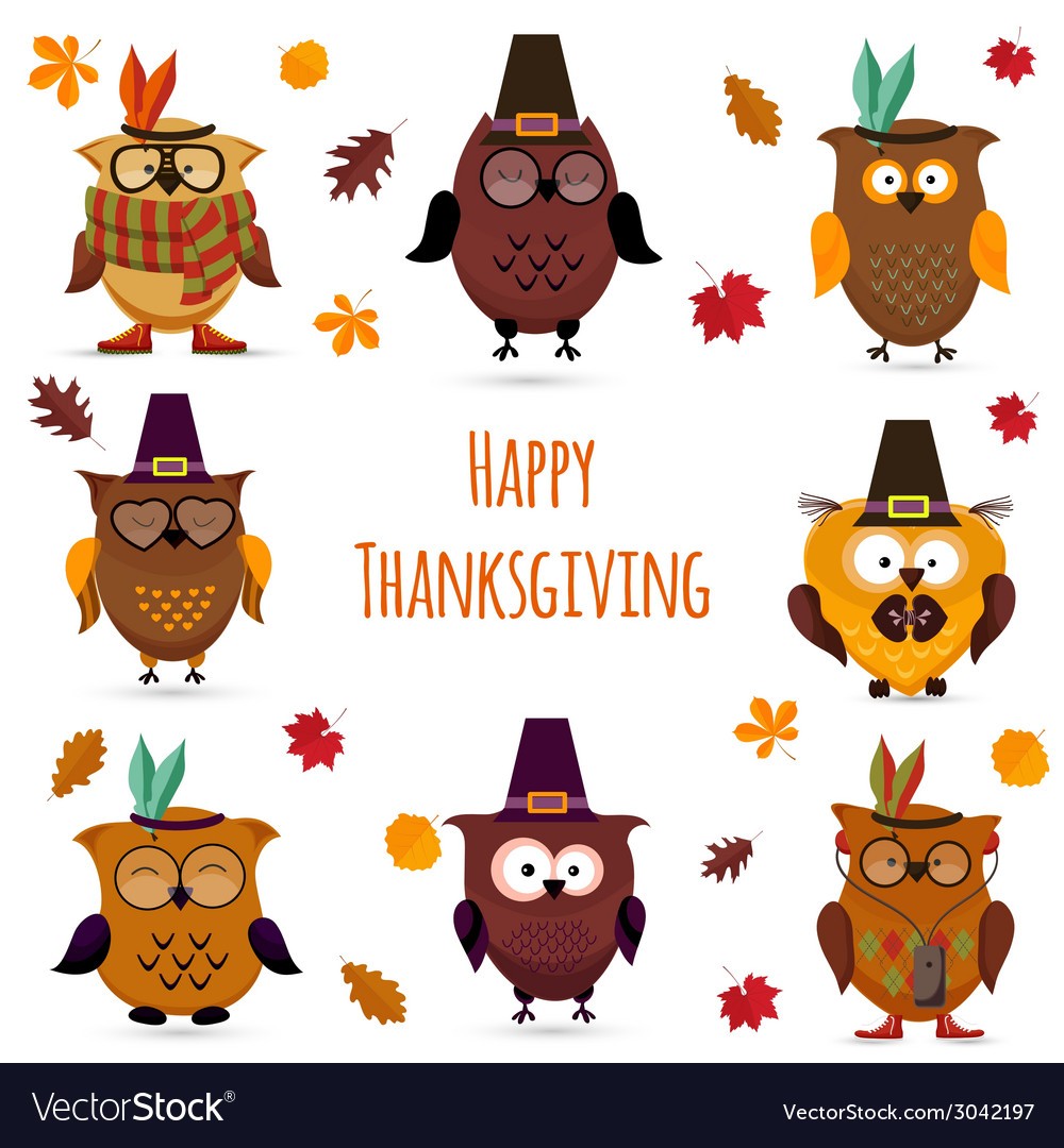 Thanksgiving day cute owl set vector | Price: 1 Credit (USD $1)