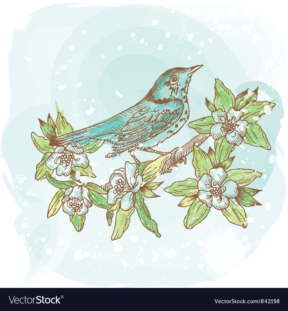 Background spring bird vector | Price: 1 Credit (USD $1)