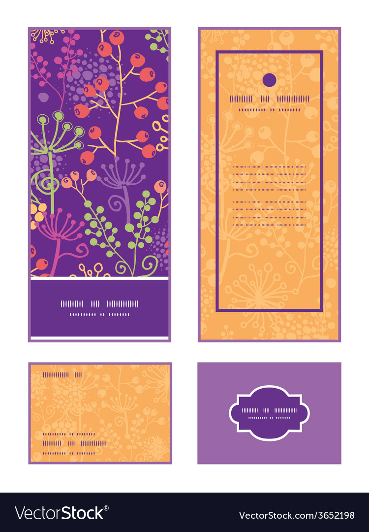 Colorful garden plants vertical frame pattern vector | Price: 1 Credit (USD $1)