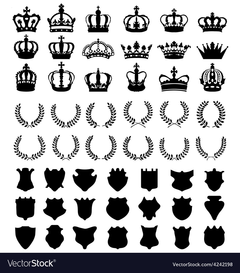 Crowns shields wreaths vector | Price: 1 Credit (USD $1)