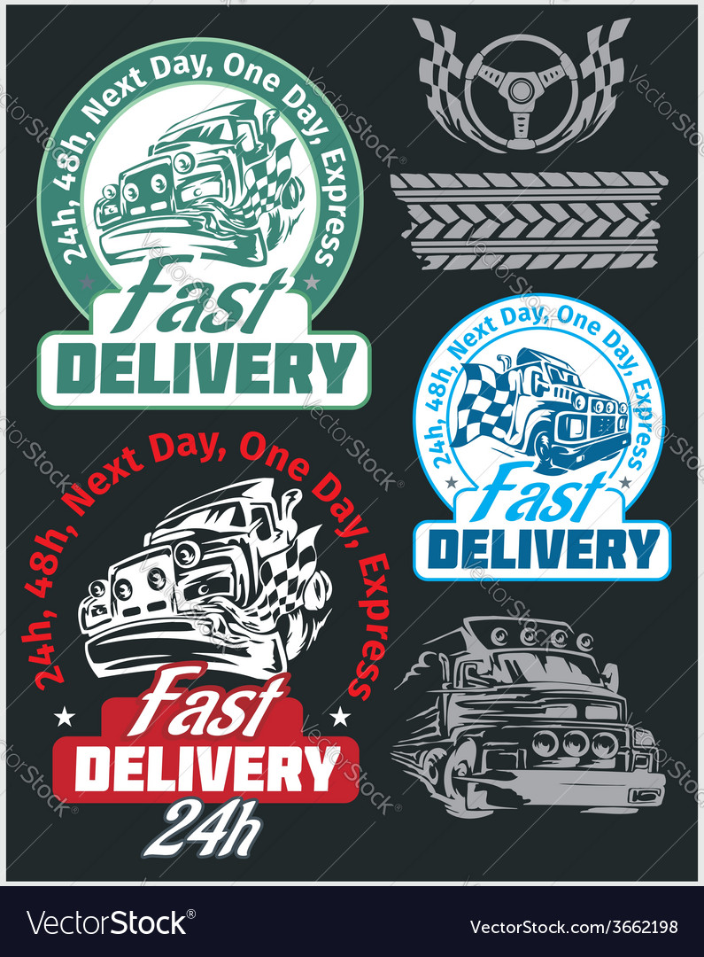 Delivery emblems and elements shipping signs vector | Price: 1 Credit (USD $1)