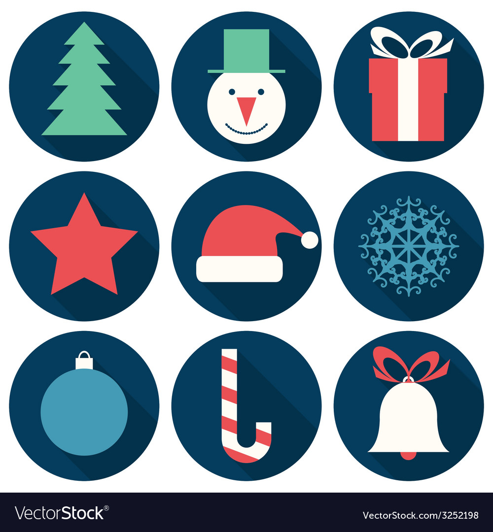 Flat christmas icons vector | Price: 1 Credit (USD $1)