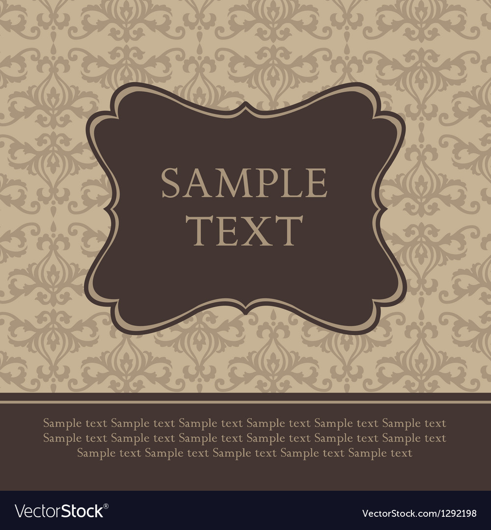 Frame on damask retro background vector | Price: 1 Credit (USD $1)
