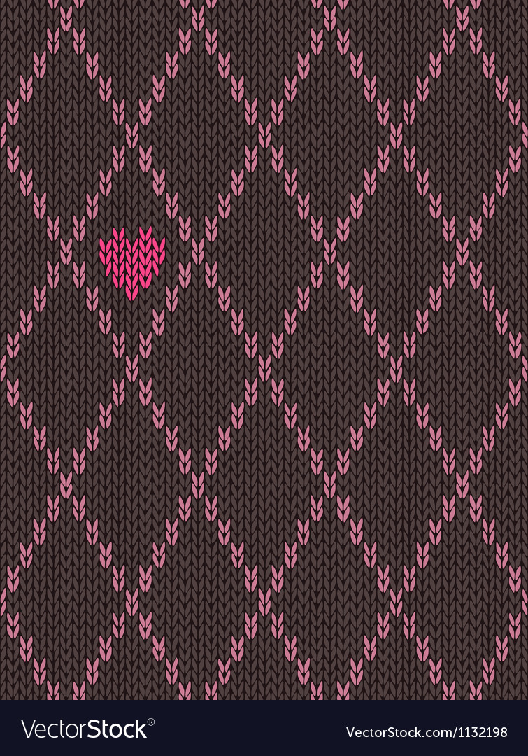 Knitted pattern with heart vector | Price: 1 Credit (USD $1)