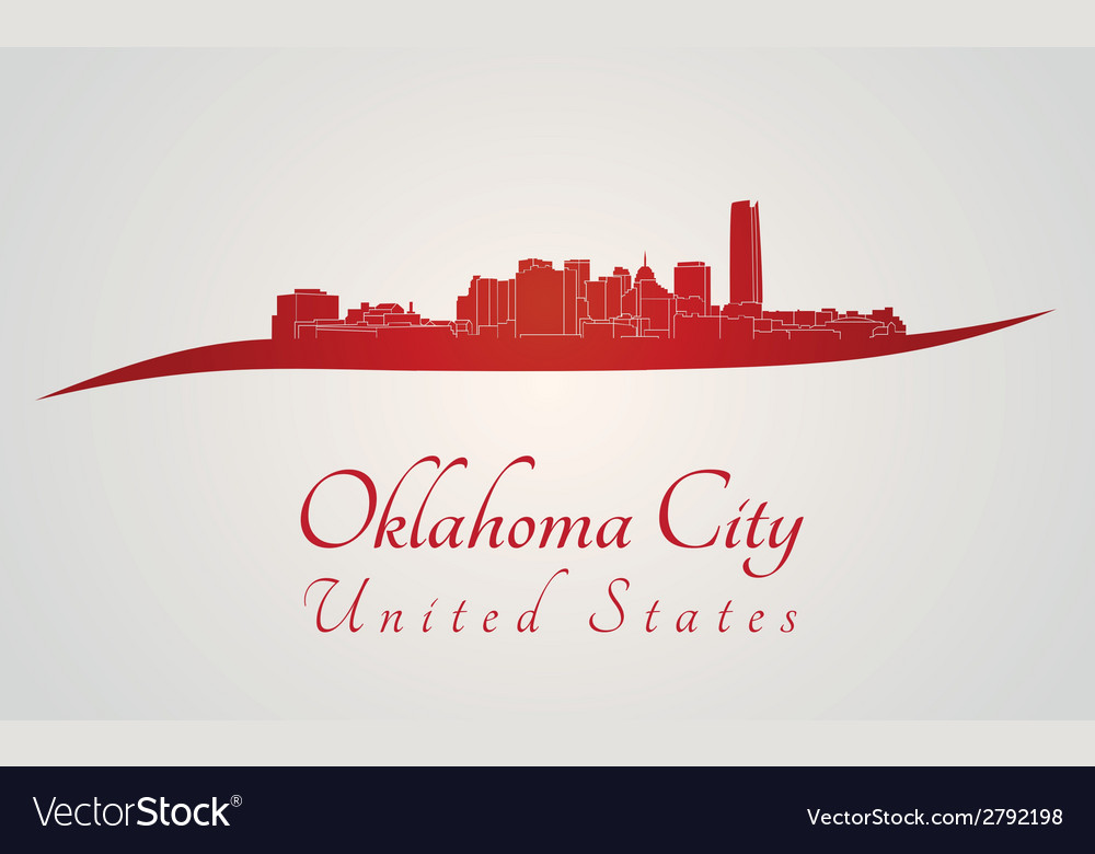 Oklahoma city skyline in red vector | Price: 1 Credit (USD $1)
