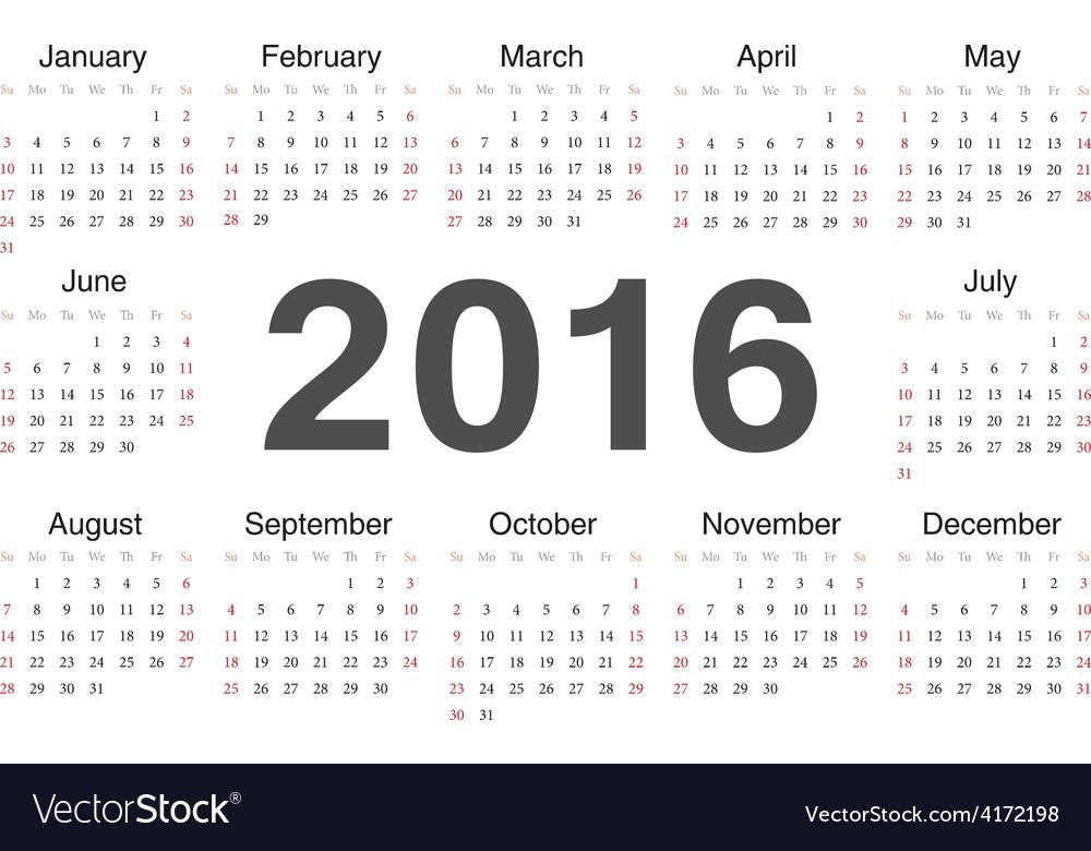 Rcircle calendar 2016 vector | Price: 1 Credit (USD $1)