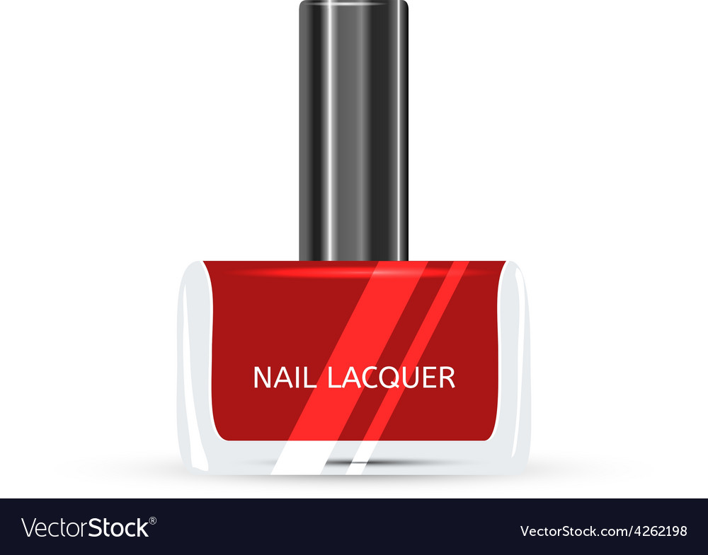 Red nail lacquer isolated on white background vector | Price: 1 Credit (USD $1)