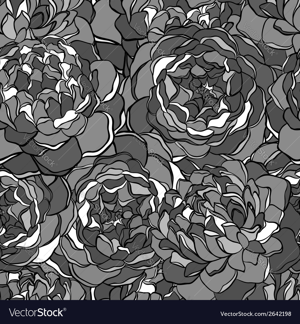 Seamless background with black and white flowers vector | Price: 1 Credit (USD $1)