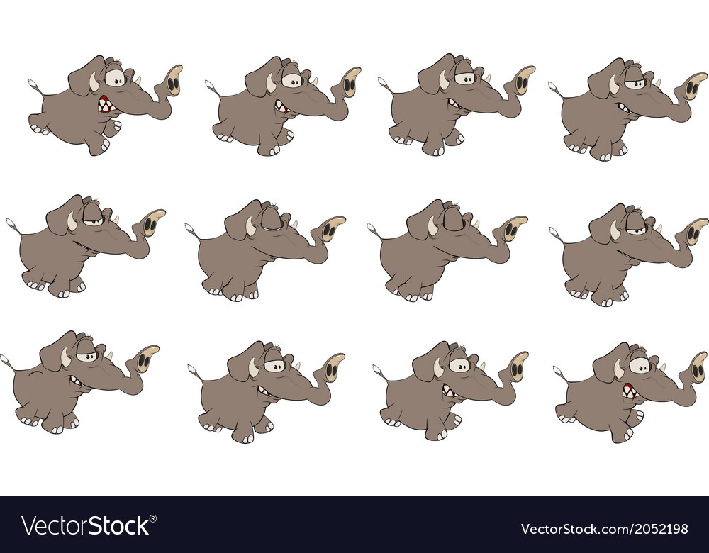 Set of elephants cartoon vector | Price: 1 Credit (USD $1)