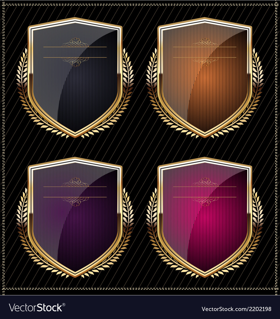 Shields with laurel wreaths vector | Price: 1 Credit (USD $1)