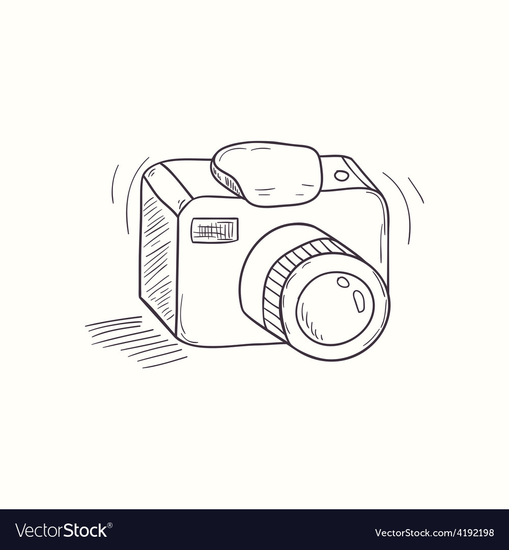 Sketched digital camera desktop icon vector | Price: 1 Credit (USD $1)