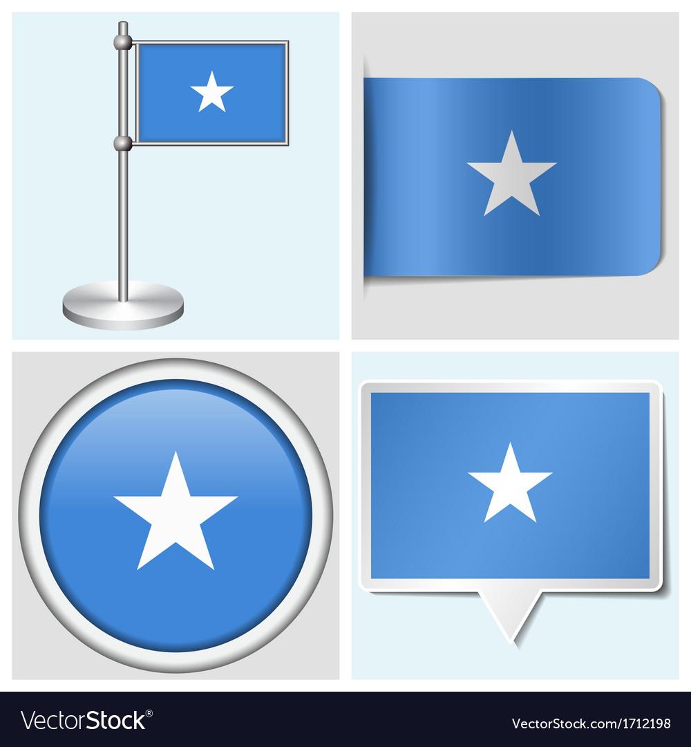 Somalia flag - sticker button label flagstaff vector | Price: 1 Credit (USD $1)