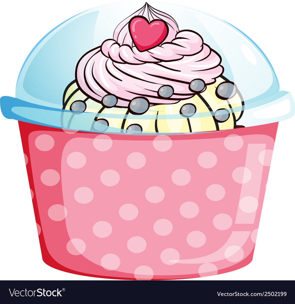 A cupcake in a pink container vector | Price: 1 Credit (USD $1)