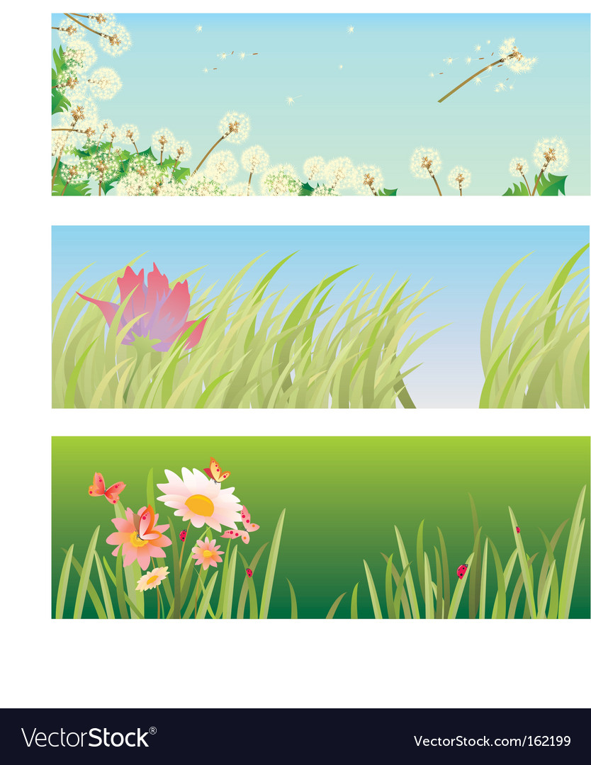 Banners with grass vector | Price: 1 Credit (USD $1)