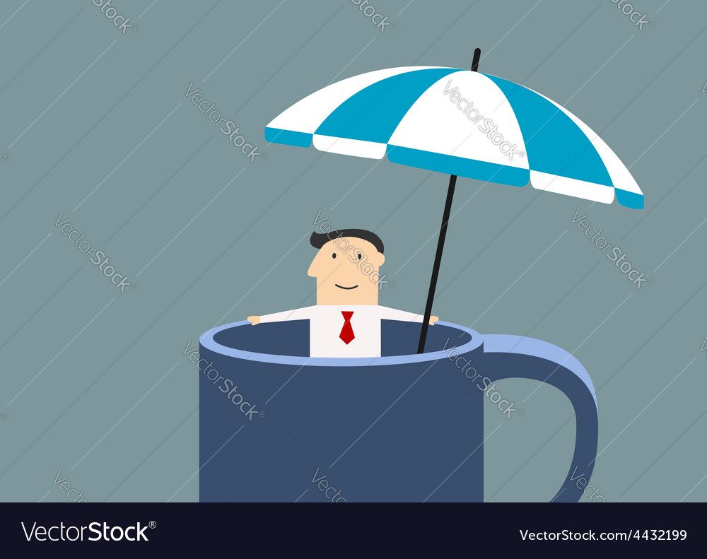 Businessman relaxing in a mug during break time vector | Price: 1 Credit (USD $1)