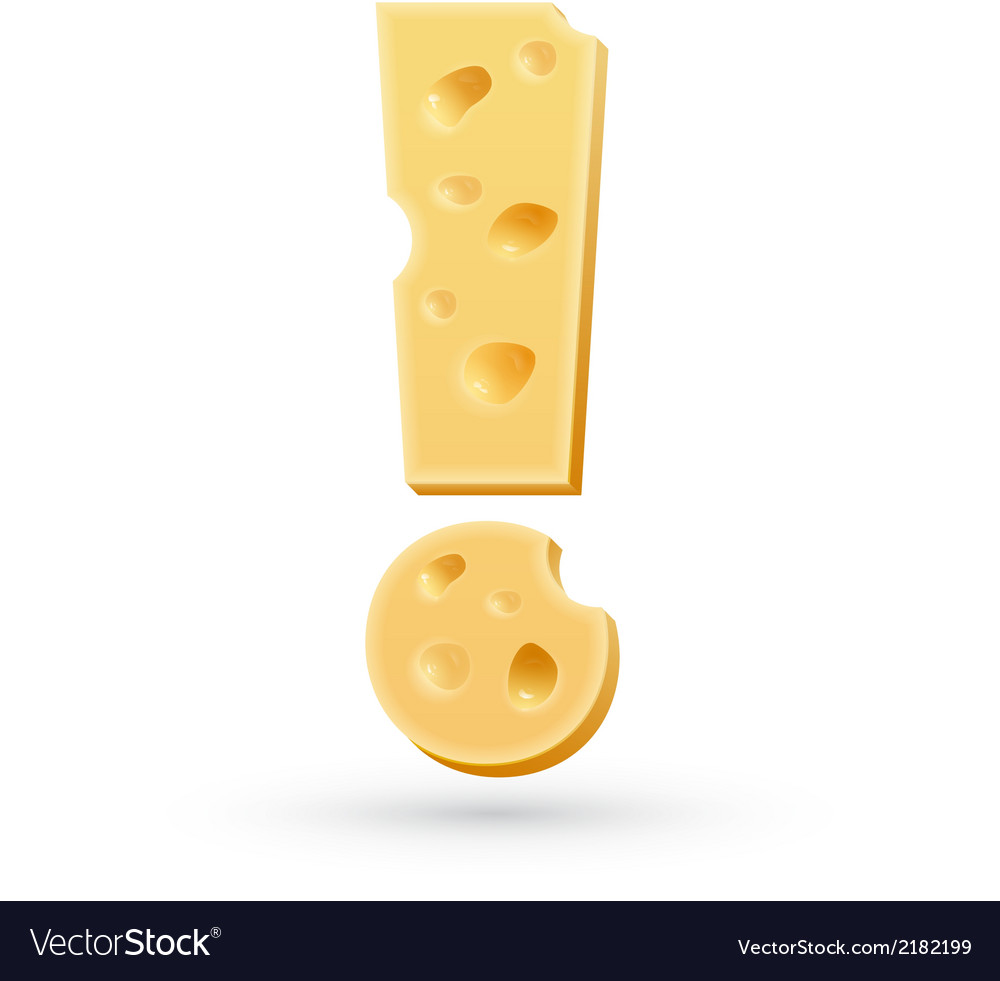 Cheese exclamation mark symbol isolated on white vector   Price: 1 Credit (USD $1)