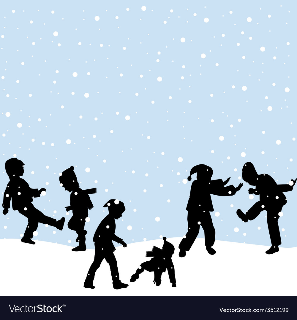 Children playing in the snow vector | Price: 1 Credit (USD $1)