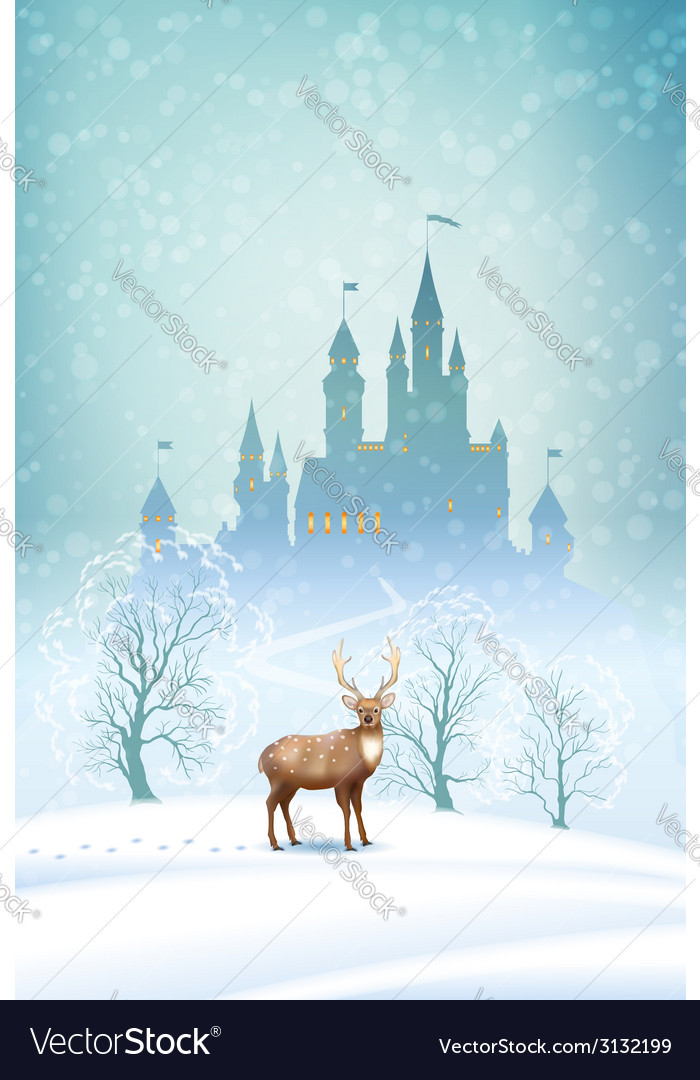 Christmas landscape winter castle vector | Price: 3 Credit (USD $3)