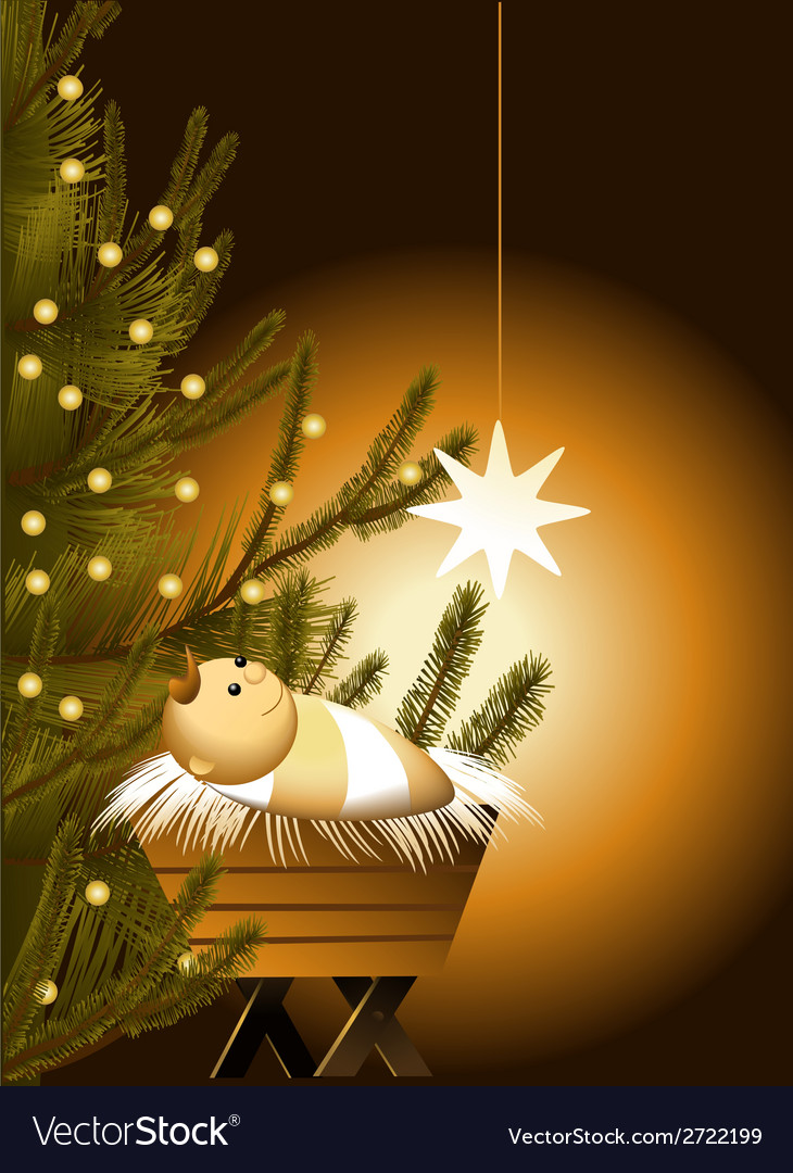 Christmas scene with baby jesus vector | Price: 1 Credit (USD $1)