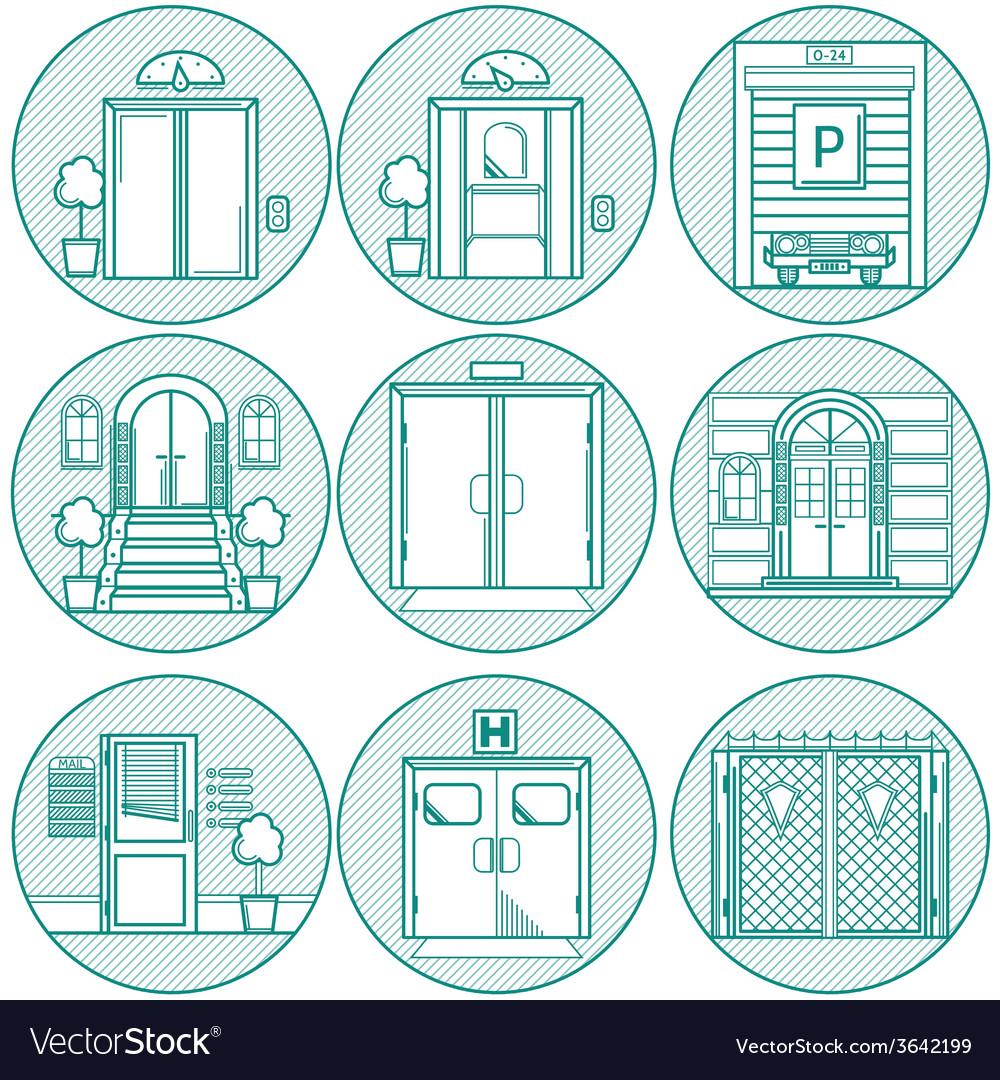 Flat line icons for door vector | Price: 1 Credit (USD $1)