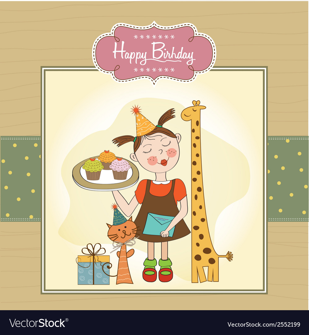 Happy birthday card with funny girl animals and vector | Price: 1 Credit (USD $1)