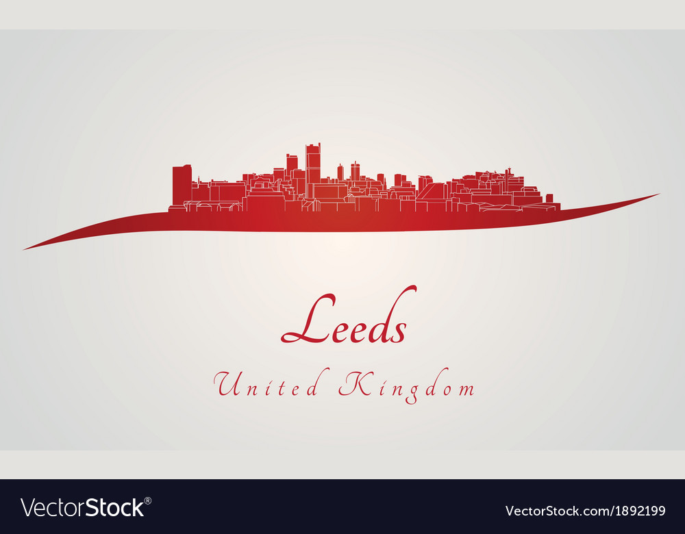 Leeds skyline in red vector | Price: 1 Credit (USD $1)