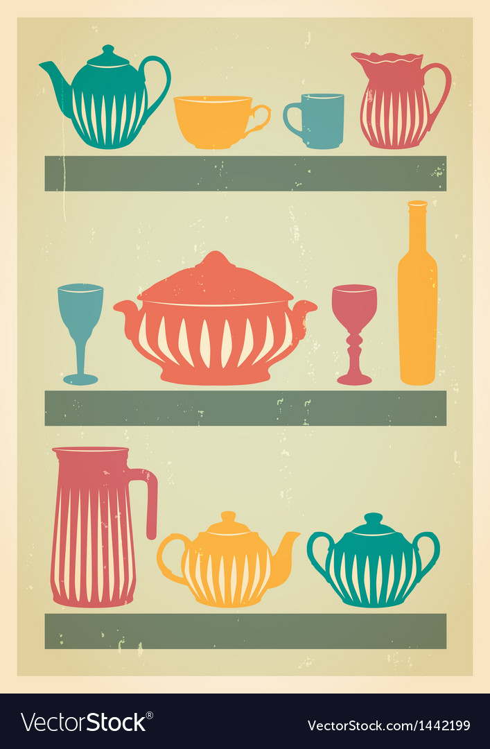 Mid century dishes set vector | Price: 1 Credit (USD $1)