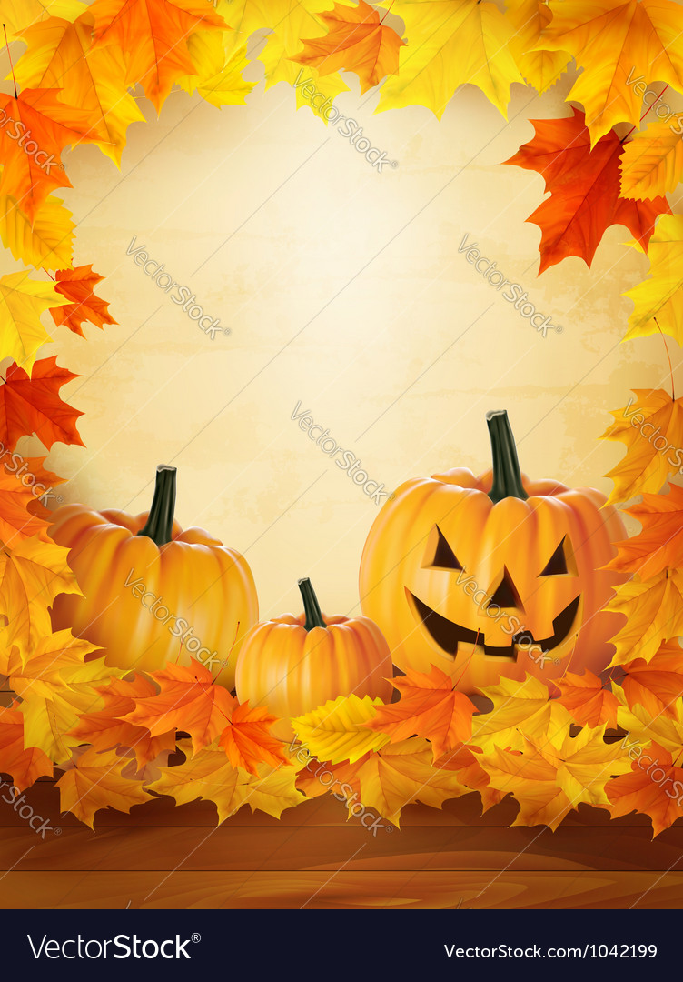 Pumpkin background with leaves halloween vector | Price: 1 Credit (USD $1)
