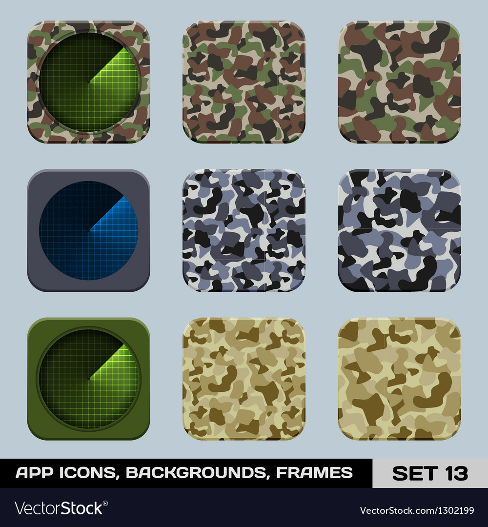 Set of app icon backgrounds frames templates set vector | Price: 1 Credit (USD $1)