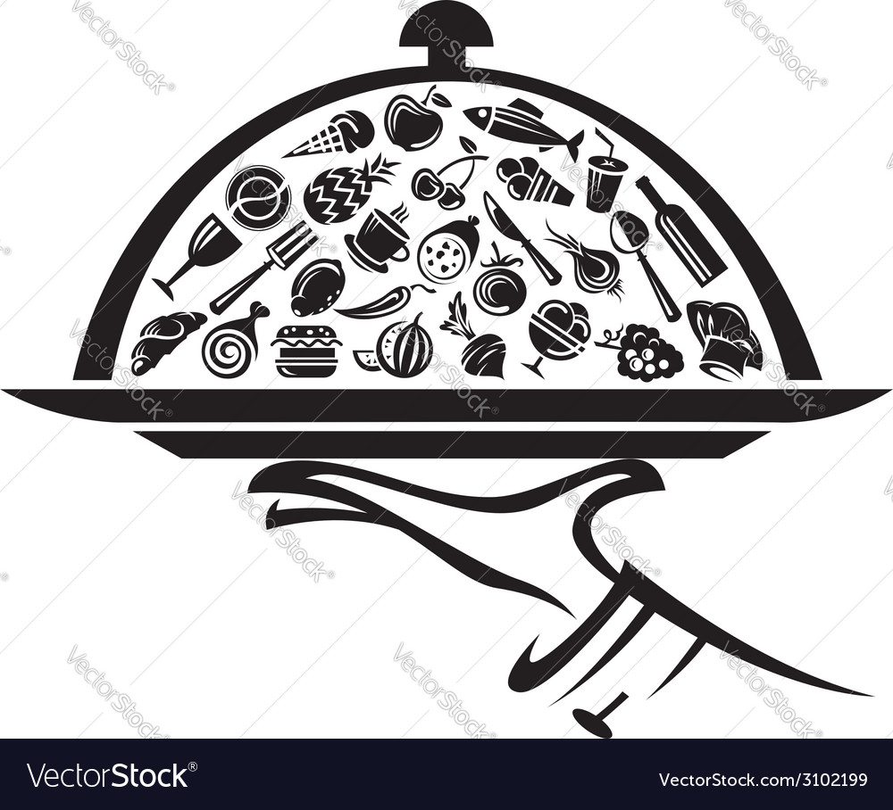 Tray in hand vector | Price: 1 Credit (USD $1)