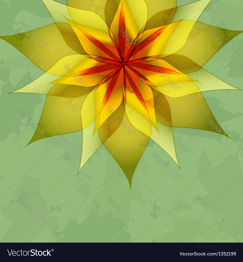 Vintage green background with colorful flower vector | Price: 1 Credit (USD $1)